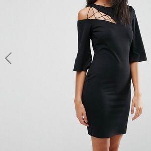 ASOS Dresses - ASOS Black 3/4 Sleeve Lace Up Shoulder Shift Dress
